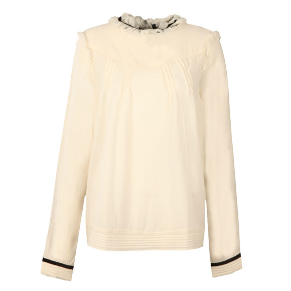 Maison Scotch Womens Off-white Sheer Cotton/Viscose Top main image