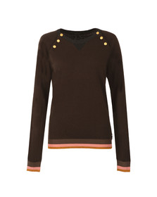 Maison Scotch Womens Green Fitted Jumper with Buttons