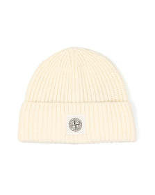 Stone Island Mens Off-white Knitted Square Badge Hat