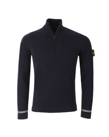 Stone Island Mens Blue Half Zip Lambswool Jumper