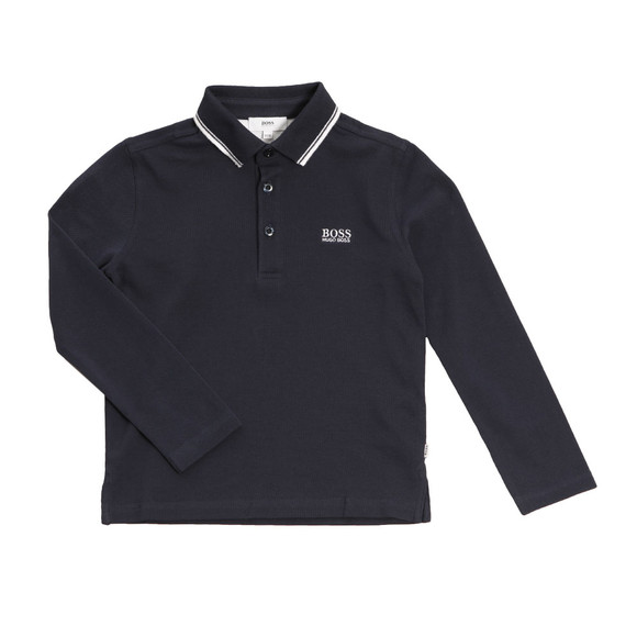 BOSS Bodywear Boys Blue Long Sleeve Polo Shirt main image
