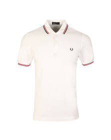 Fred Perry Mens White Twin Tipped Polo