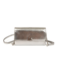 Michael Kors Womens Silver Mott XL Clutch Bag