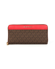 Michael Kors Womens Brown/bright Red Mercer Pocket Zip Around Continental Purse