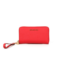 Michael Kors Womens Red Jet Set Travel Large Coin Multi Function Phone Case