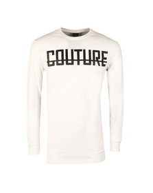 Fresh Couture Mens White Long Sleeve Logo T Shirt