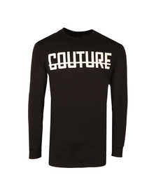 Fresh Couture Mens Black Long Sleeve Logo T Shirt