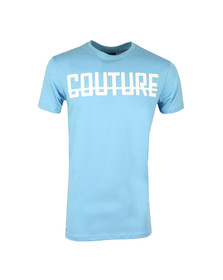 Fresh Couture Mens Blue Large Logo T Shirt