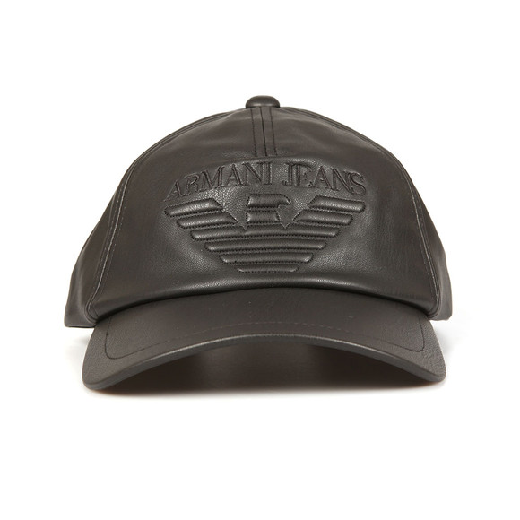 Armani Jeans Mens Black Embossed Leather Look Cap main image