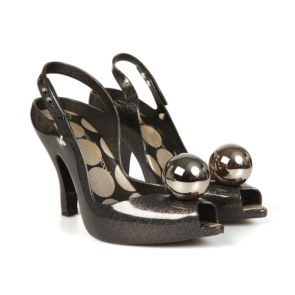 Vivienne Westwood Anglomania X Melissa Womens Black Glitter Globe Lady Dragon 18 Heel main image