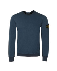 Stone Island Mens Blue Washed Crew Neck Sweatshirt