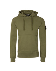 Stone Island Mens Green Overhead Sleeve Badge Hoody