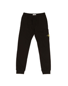 Stone Island Mens Black Zip Pocket Badge Joggers