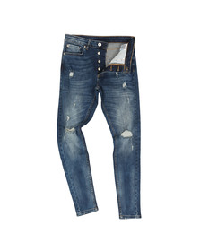 Kings Will Dream Mens Blue Rumper Hipster Ripped Jean