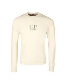 CP Company Mens Off-white Printed Logo Crew Sweatshirt