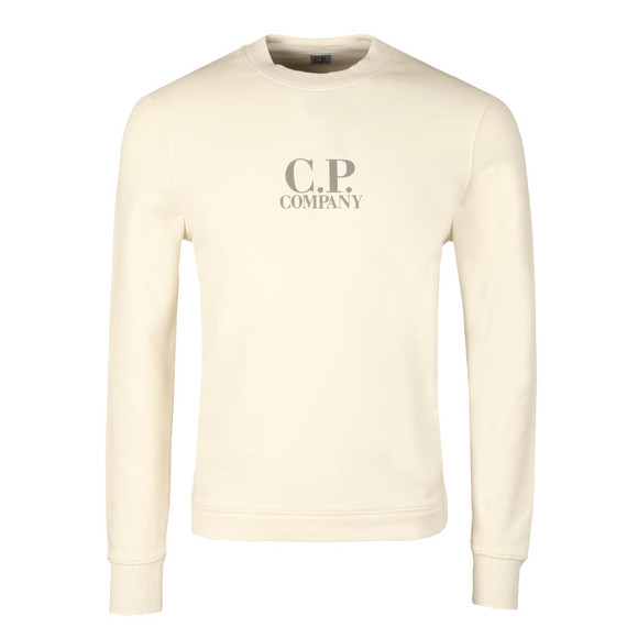 CP Company Mens Off-white Printed Logo Crew Sweatshirt main image