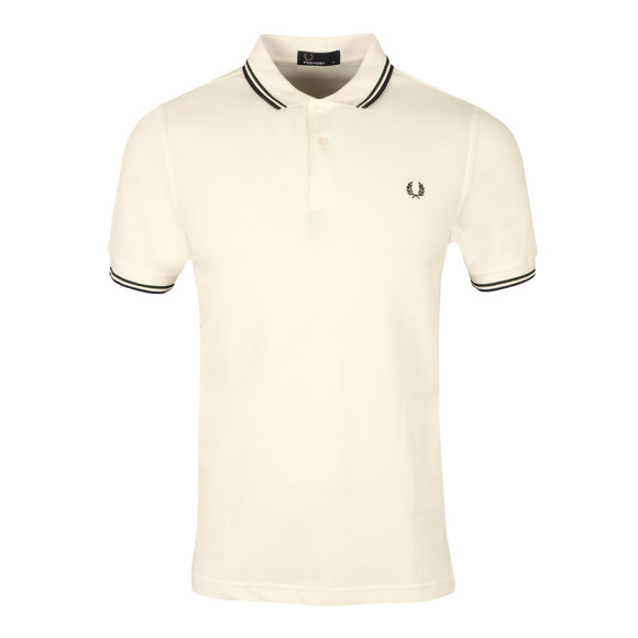 Fred Perry Mens White Twin Tipped Polo Shirt main image