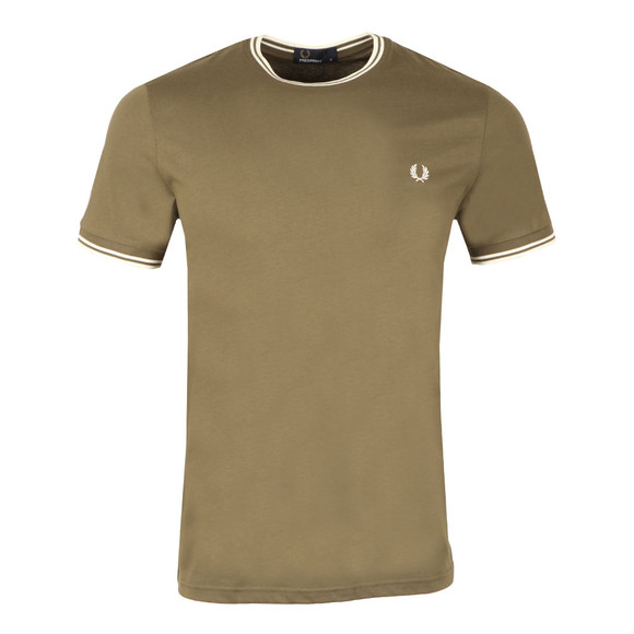 Fred Perry Mens Green Twin Tipped T-shirt main image