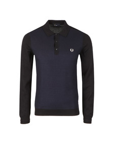 Fred Perry Mens Blue L/S Textured Polo