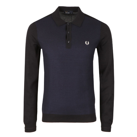 Fred Perry Mens Blue L/S Textured Polo main image