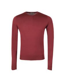 John Smedley Mens Red Shipton V Neck Pullover