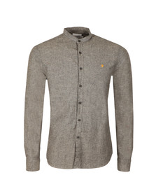 Farah Mens Grey L/S Steen Grandad Shirt
