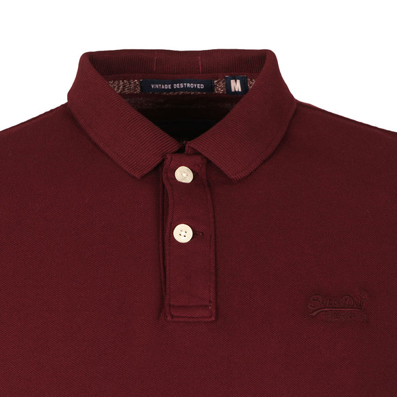 Superdry Mens Red S/S Vintage Destroy Pique Polo main image