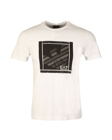 EA7 Emporio Armani Mens White Large Square Logo T Shirt