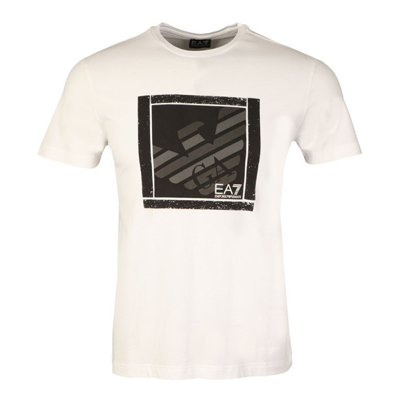 EA7 Emporio Armani Mens White Large Square Logo T Shirt main image