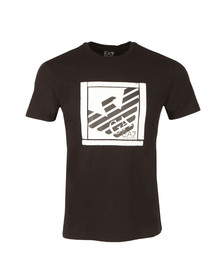 EA7 Emporio Armani Mens Black Large Square Logo T Shirt