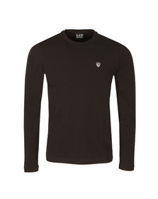 EA7 Emporio Armani Mens Black Small Shield Long Sleeve T Shirt