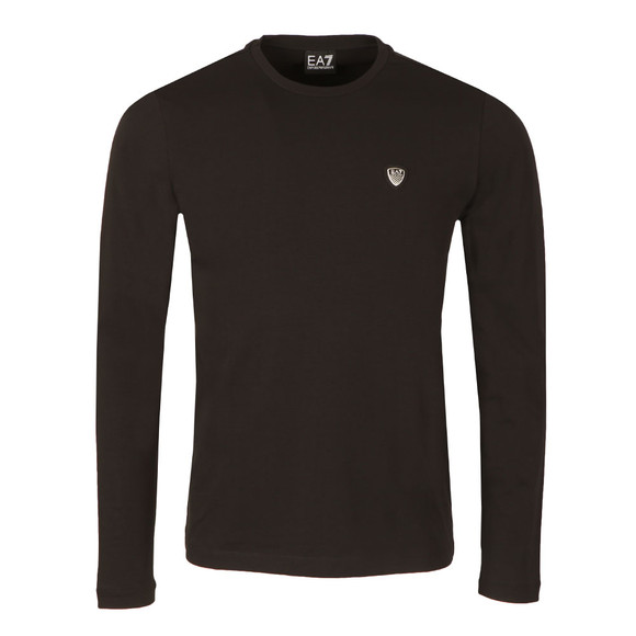 EA7 Emporio Armani Mens Black Small Shield Long Sleeve T Shirt main image
