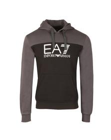 EA7 Emporio Armani Mens Black Two Tone Overhead Hoody