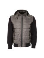 Mixed Fabric Hooded Jacket