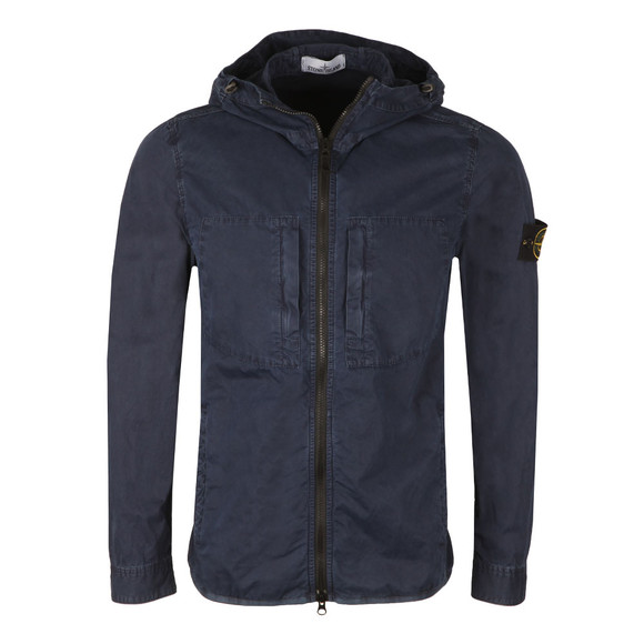 Stone Island Mens Blue Hooded Overshirt main image