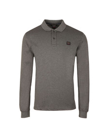 Paul & Shark Mens Grey Organic Cotton Long Sleeve Polo Shirt