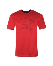 Paul & Shark Mens Red Large Logo Tonal T Shirt