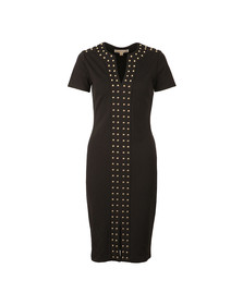 Michael Kors Womens Black Split Neck Embellished Band Dress