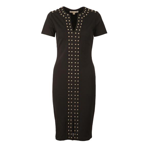 Michael Kors Womens Black Split Neck Embellished Band Dress main image