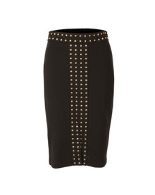 Michael Kors Womens Black Embellished Slit Band Skirt