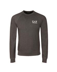 EA7 Emporio Armani Mens Grey Small Logo Crew Sweatshirt