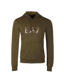 EA7 Emporio Armani Mens Green Metallic Logo Overhead Hoody