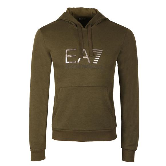 EA7 Emporio Armani Mens Green Metallic Logo Overhead Hoody main image 3ea8a5fb4860