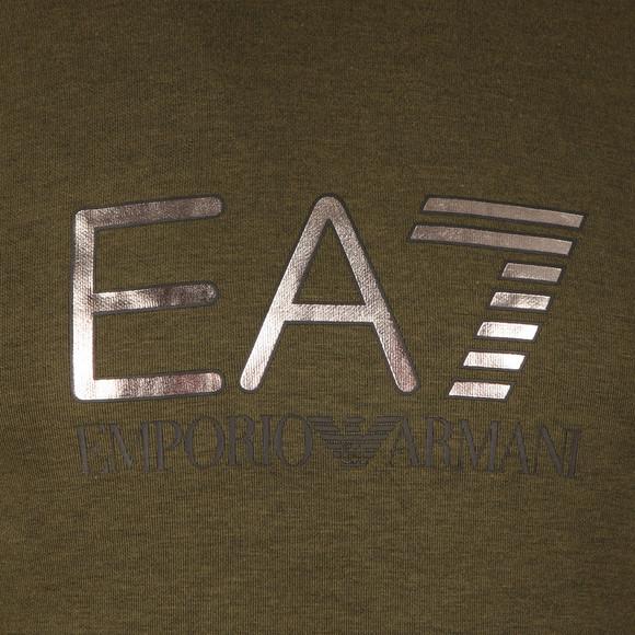 EA7 Emporio Armani Mens Green Metallic Logo Overhead Hoody main image