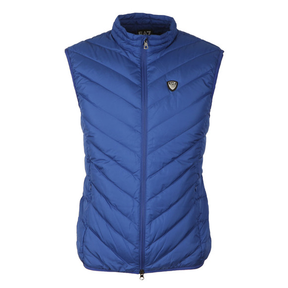 EA7 Emporio Armani Mens Blue Shield Logo Down Gilet main image