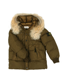 Stone Island Junior  Boys Green Garment Dyed Crinkle Reps NY Down Jacket