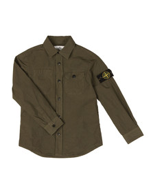 Stone Island Junior  Boys Green Sleeve Badge Shirt