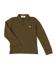Stone Island Junior  Boys Green Boys Long Sleeve Tipped Polo