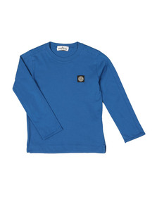 Stone Island Junior  Boys Blue Patch Logo Long Sleeve T Shirt