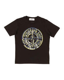 Stone Island Junior  Boys Black Large Compass Logo T Shirt
